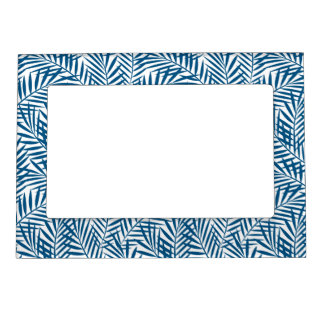 Tropical blue palm leaf picture frame magnets