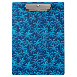 Tropical blue palm trees clipboard