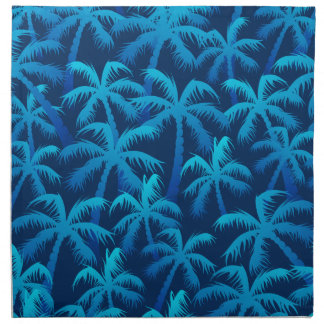 Tropical blue palm trees napkin