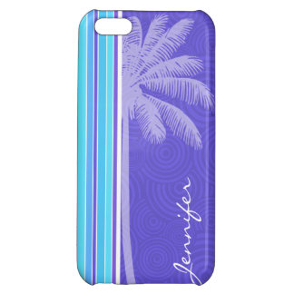 Tropical Blue & Purple Stripes; Striped iPhone 5C Covers