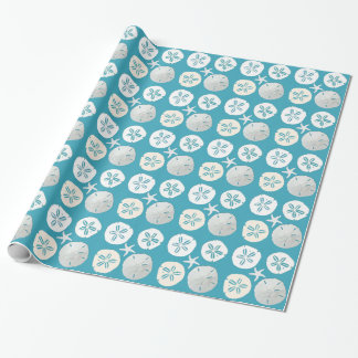 Tropical Blue Sand Dollars Starfish Gift Wrap