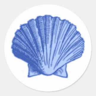 Tropical Blue Seashell Stickers