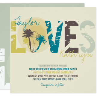 Tropical Blue Sunset Palm Trees Beach Wedding Card