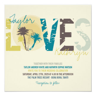 Tropical Blue Sunset Palm Trees Beach Wedding 13 Cm X 13 Cm Square Invitation Card