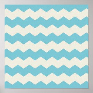 Tropical Blue White Sand Chevron Poster