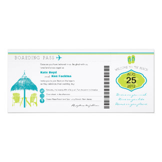 Tropical Boarding Pass Wedding Invitation