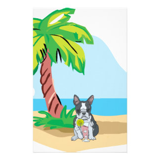Tropical Boston Terrier Stationery