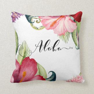 Tropical Botanical Floral Aloha Hibiscus Summer Throw Pillow