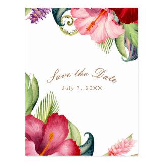 Tropical Botanical Floral Aloha Save the Date Postcard