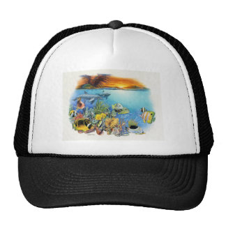 Tropical Breeze A Tropical Fish Collage Trucker Hats