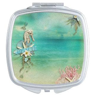 Tropical Breeze beach seahorse starfish ocean Travel Mirror