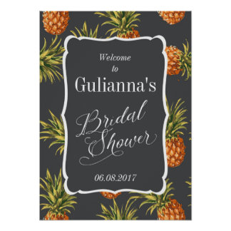 Tropical Bridal Shower Welcome Sign Pineapple