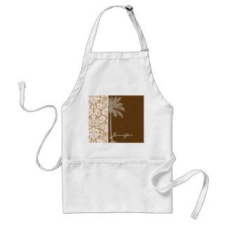 Tropical Brown Damask Pattern Apron