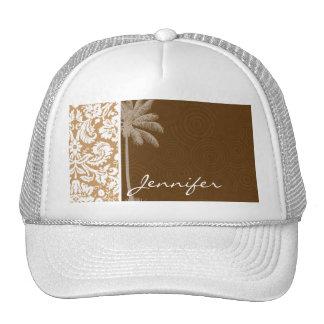 Tropical Brown Damask Pattern Mesh Hat