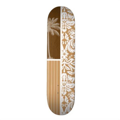 Tropical Brown Damask Pattern Skateboard Deck