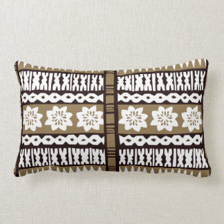 "Tropical Brown Tapa Cloth 13""x20"" Lumbar Pillow"