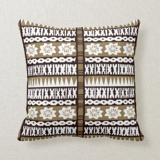 "Tropical Brown Tapa Cloth 20"" x 20"" Pillow"