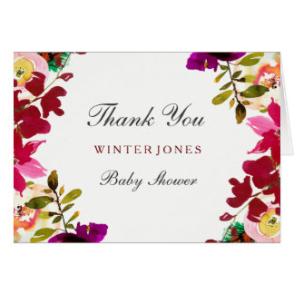Tropical Burgundy Floral Baby Shower Thank You Card