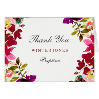 Tropical Burgundy Floral Baptism Thank You Card