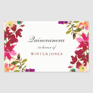 Tropical Burgundy Floral Watercolor Quinceanera 15 Rectangular Sticker