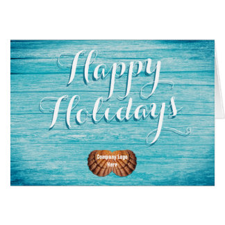 Tropical Business Holiday Greeting With Logo Greeting Card