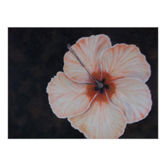 Tropical Butter Yellow Hibiscus Flower Poster