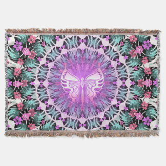 Tropical Butterfly Throw Blanket