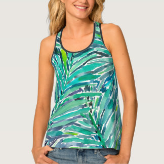 Tropical Canopy Palm Jungle Watercolor Pattern Tank Top