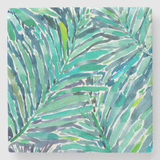 Tropical Canopy Palm Jungle Watercolor Print Stone Beverage Coaster