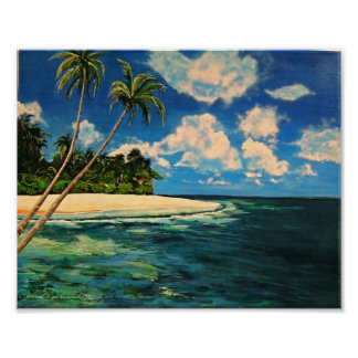 Tropical Caribbean beach poster art