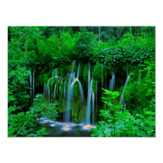 Tropical Cascading Waterfall In The Rainforest Poster