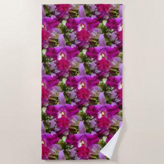 Tropical Cattleya Orchid Flower Beach Towel
