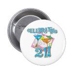 Tropical Celebrating 21 Pinback Button