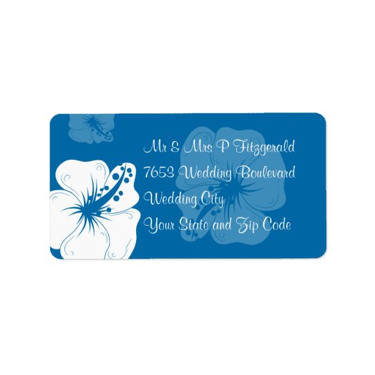 Tropical Cerulean Blue and White Hibiscus Wedding Address Label