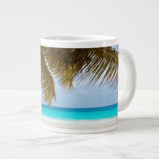 Tropical Chilling Beach Scene Large Coffee Mug