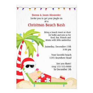 Tropical Christmas Beach Bash Custom Invites