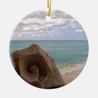 Tropical Christmas Beach Seashell Ceramic Ornament