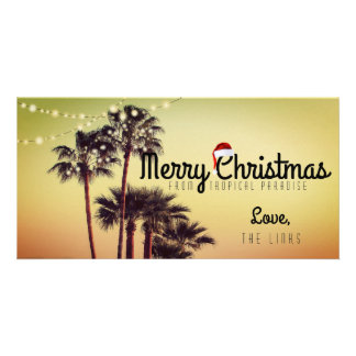 Tropical Christmas Holiday Card Photo Card