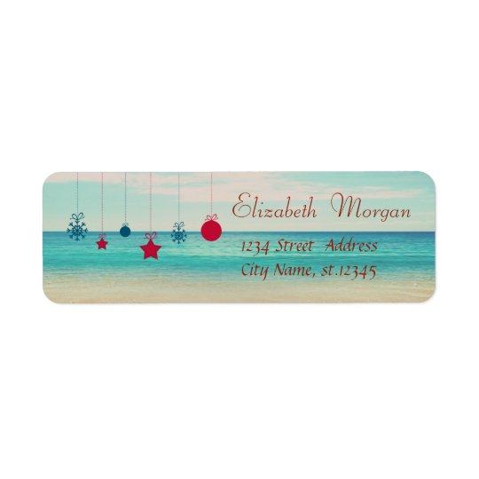 Tropical,Christmas Ornaments,Beach Return Address Label