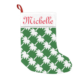Tropical Christmas palm tree stocking with name