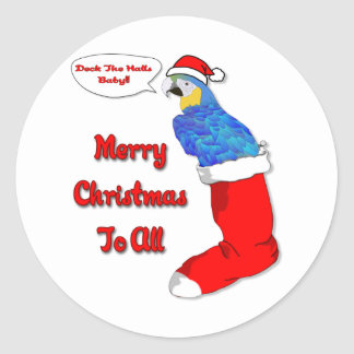 Tropical Christmas Parrot Classic Round Sticker