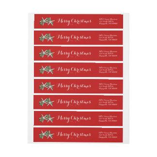 Tropical Christmas Red Wrap Address Labels Wraparound Return Address Label