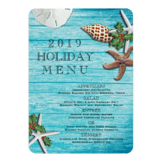 Tropical Christmas Sea Life Blue Boards Menu 11 Cm X 16 Cm Invitation Card