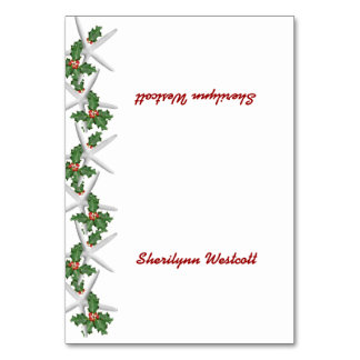 Tropical Christmas Tented Place Cards With Name Table Card