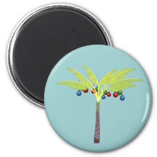 Tropical Christmas Tree 6 Cm Round Magnet