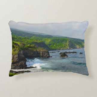 Tropical Cliffs in Maui Hawaii Decorative Cushion