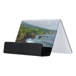 Tropical Cliffs in Maui Hawaii Desk Business Card Holder