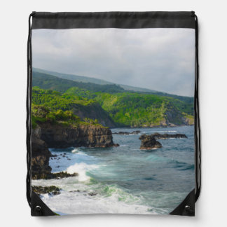 Tropical Cliffs in Maui Hawaii Drawstring Bag