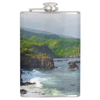 Tropical Cliffs in Maui Hawaii Flask