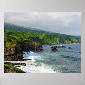 Tropical Cliffs in Maui Hawaii Poster
